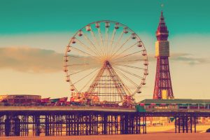 Blackpool Tower and Central Pier Ferris Wheel, Lancashire, UK.
