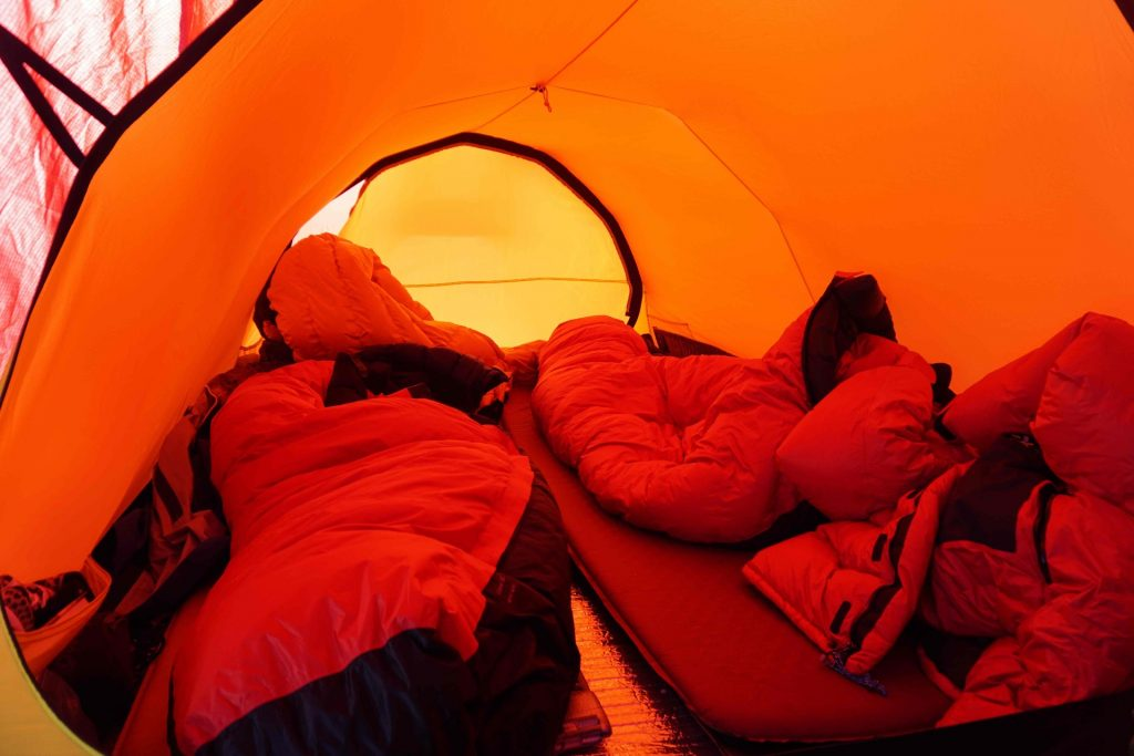 inside tent south pole