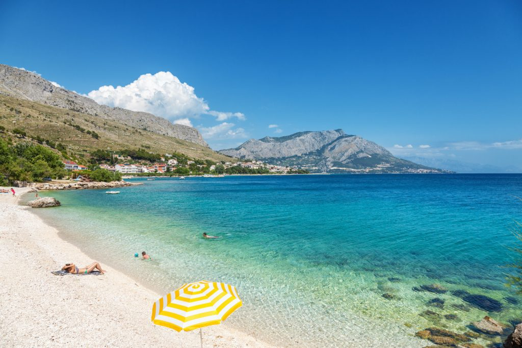 Beautiful beach close to Omis in Croatia