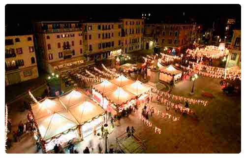 Venice Christmas market in Campo Santo Stefano