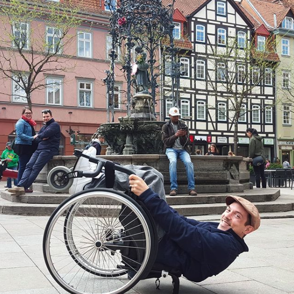 Tobias Wheelchair Planking in Amsterdam