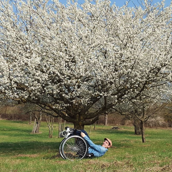Tobias Wheelchair Planking Under A Tree