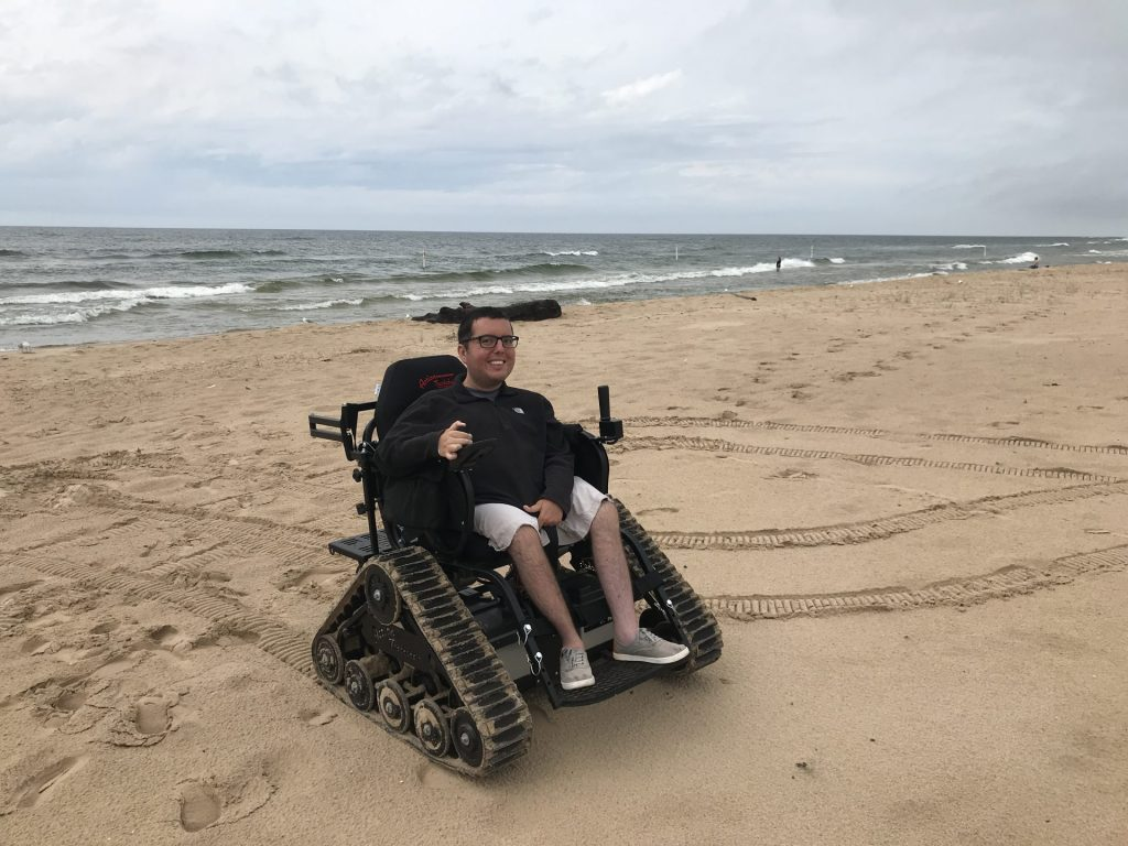 Cory on the beach in Muskegon, Michigan