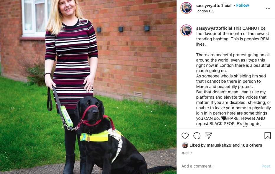 Sassy Wyatt Pictured With her Guide Dog