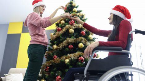 Wheelchair User Celebrating Christmas