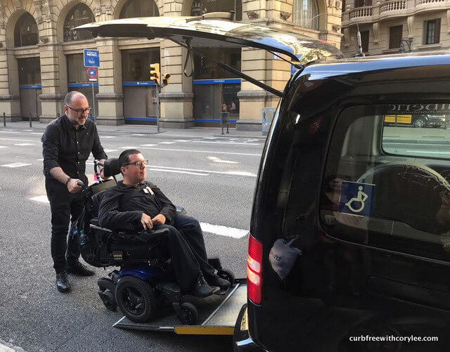 Cory Using An Accessible Taxi In Barcelona