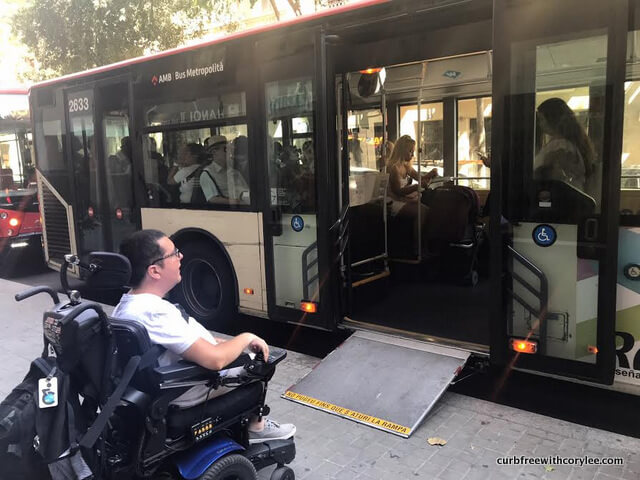 Cory Using The Accessible Bus In Barcelona