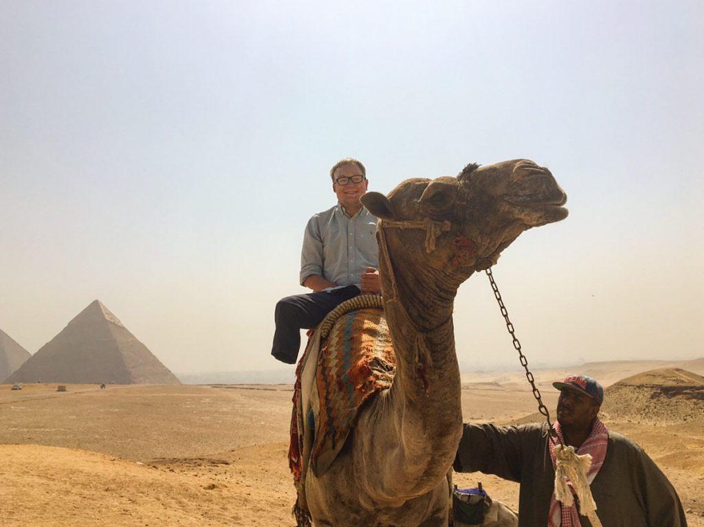 John Riding A Camel In Egypt